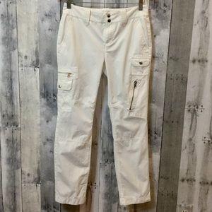 RALPH LAUREN White Cotton Cargo Pants Sz 4P Petite
